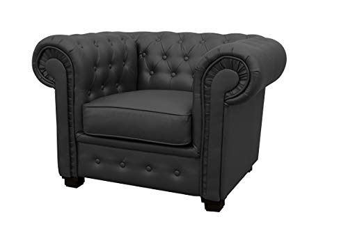 Chesterfield Style Venus Sofa 3 Seater 2 Seater Armchair Black Faux Leather (Armchair 1 Seater)