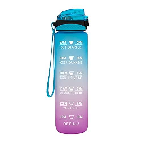 QAZW Botella de Agua Motivacional de 1L / 32 Oz (Cuando Está Llena) con Marcador de Tiempo y Pajita, Tritan a Prueba de Fugas Sin BPA para Fitness, Gimnasio y Deportes Al Aire Libre,blue/purple-1L