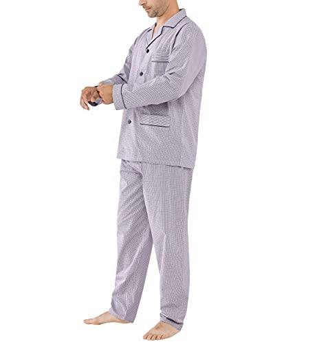 El Búho Nocturno - Pijama Hombre Largo Solapa Popelín Cuadros Granate 60% algodón 40% poliéster Talla 9 (5XL)