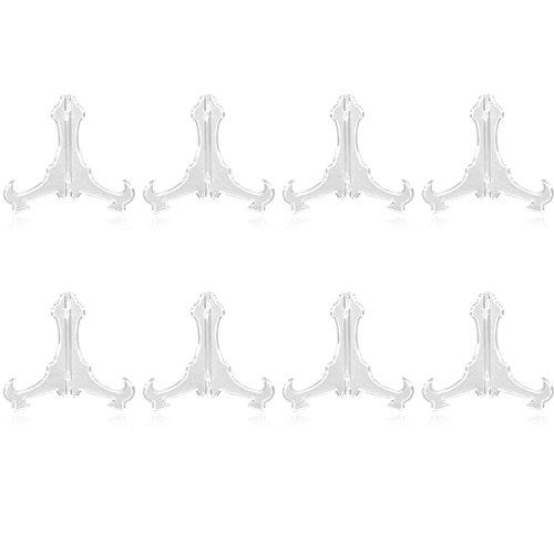 com-four® 8X Staffelei für Sammel-Teller, Schalen, Bücher und Bilder, transparenter Teller-Ständer aus Kunststoff, 14,5 x 16,5 cm (08 Stück)