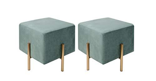 Kirpi - Juego de 2 taburetes otomanos cuadrados de terciopelo – Taburete moderno – Reposapiés tapizado de terciopelo suave con...