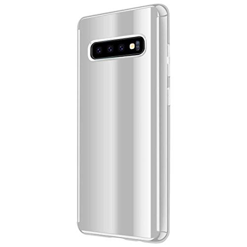 Funda Samsung Galaxy S10 Carcasa Enchapado Espejo PC S10e Case 360 Degree Protección Cover 2-en-1 Ultra-Delgado Caso Anti-arañazos Absorción Bumper Caja para Galaxy S10+ (S10, Plata)