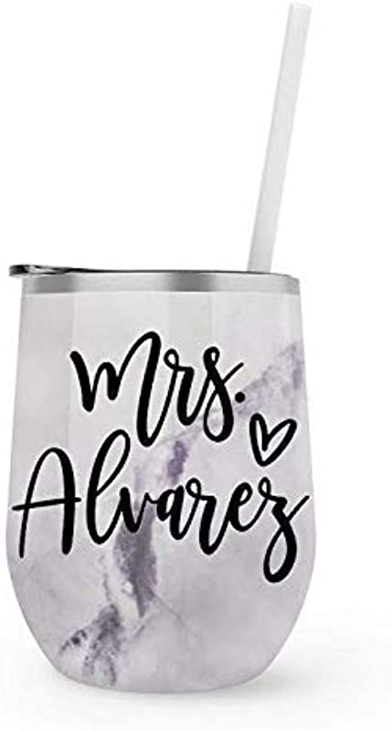 Personalized Future Mrs Marble Wine Tumbler With Straw 12 Oz Stemless Travel Cup Engagement