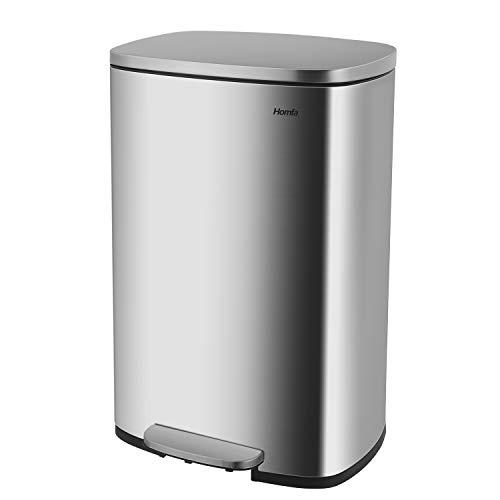 Homfa Cubo de Basura para Cocina 50L con Tapa Cierre Suave Papelera de Reciclaje Anti-Huellas Mate de Acero Inoxidable para Cocina Oficina Exterior
