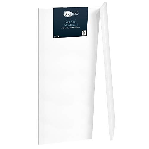 Artina Set de 2 lienzos blancos preestirados Akademie con bastidores de madera FSC® - 50x150 cm - Lienzos para pintar pretratados con bastidores estables - 100% algodón 280g/m²