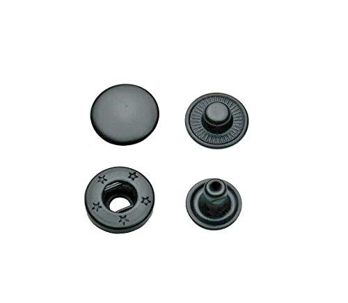 Ista Tools S-Feder oder Ring-Feder, Druckknöpfe 10mm, 12,5mm, 15mm Messing, rostfrei, Knopf, Press-Studs (10, 10mm schwarz oxidiert)