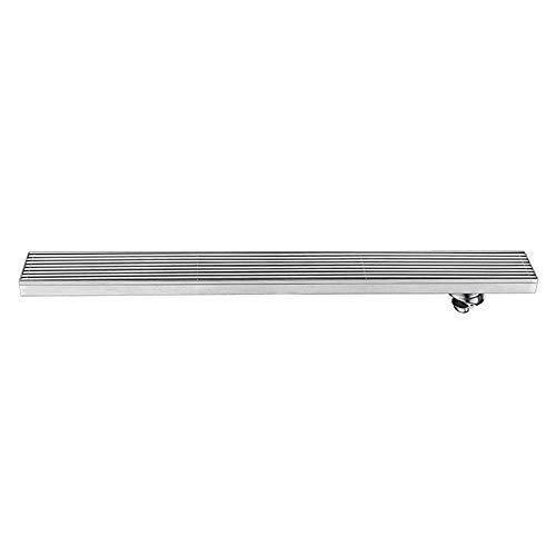 QHGao douche lineaire afvoer vloer afvoer, rechthoekige douchecabine afvoer, moderne vloer afvoer haarfilter, geborsteld nikkel roestvrij staal afwerking, deodorant en insectenproof, snelle afvoer