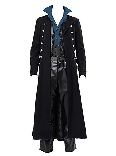 Mens Steampunk Vintage Jacket Gothic Victorian Frock Coat Uniform Halloween Costume Tailcoat Black