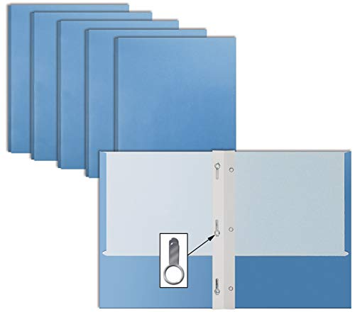 Light Blue Paper 2 Pocket Folders with Prongs, 50 Pack, by Better Office Products, Matte Texture, Letter Size Paper Folders, 50 Pack, with 3 Metal Prong Fastener Clips, Light Blue
