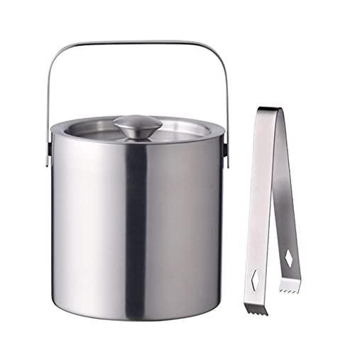SMLSMGS 1.3l cubos de hielo, aislamiento de doble pared Cubo de metal de acero inoxidable de plata con párpados y pinzas, cubo de enfriador de almacenamiento en frío a largo plazo, para cubitos de hie