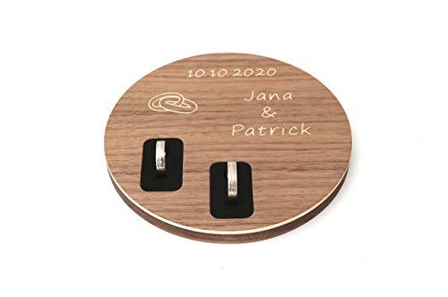 Ringschale aus Holz personalisiert zur Hochzeit, Ringkissen mit Namen und Datum, rustikal, alternativ, außergewöhnlich, ausgefallen, mal anders, vintage, Eiche und Nussbaum Massivholz