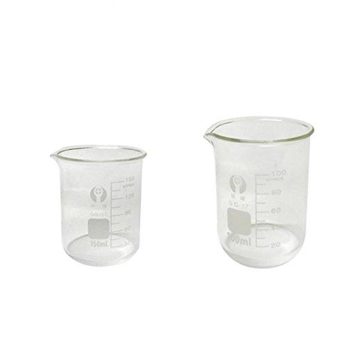 sharplace Vidrio borosilicatado Forma Baja Jarra Medidora Química Laboratorio Cristal 100ml + 150ml