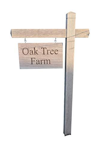 Gepersonaliseerde schommel/opknoping eiken huis teken, gesneden, aangepaste gegraveerde post outdoor houten naam plaque