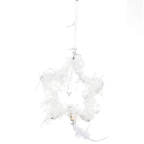 strimusimak Pluma Colgante De Navidad Colgante Estrella En Forma De Corazón Colgante Creativo Adorno Colgante para Decoración De Fiesta De Sala De Estar Blanco