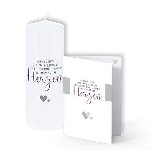TrostGeschenke - Trauerkerze & passende Trauerkarte - 'Menschen die wir lieben'