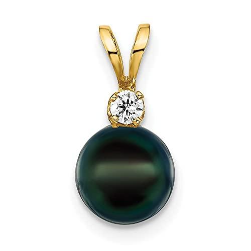 Collar de oro de 14 quilates, 7 8 mm, color negro, redondo de agua salada Akoya cultivada con perlas cultivadas y diamantes, joyería para mujer