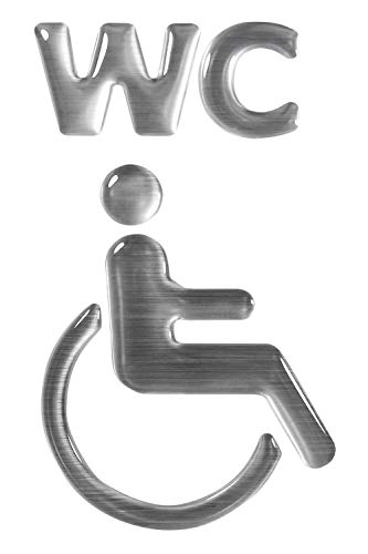 BIKE-label 900096 - Adhesivo 3D con aspecto de aluminio para inodoro o silla de ruedas, 57 x 97 mm