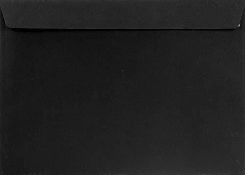 200 Schwarz Brief-Umschläge DIN C4 ohne Fenster 229 x 324 mm gerade Klappe mit Abziehstreifen 120g Burano Nero farbige Brief-Kuverts groß Geschäfts-Umschläge C4 Briefhüllen Versandtaschen schwarz