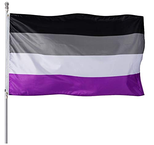 Homissor Asexual Pride Flag 3x5 Heavy Duty Polyester LGBT Asex Omnisexual Equality Flags for Outdoor Wall with Brass Grommets & Durable Header