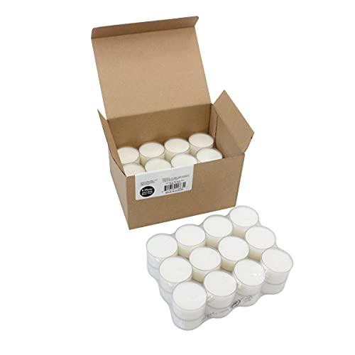 Stonebriar 48 Pack Unscented 8 Hour Extended Burn Time Clear Cup Tea Light Candles, 48 Count