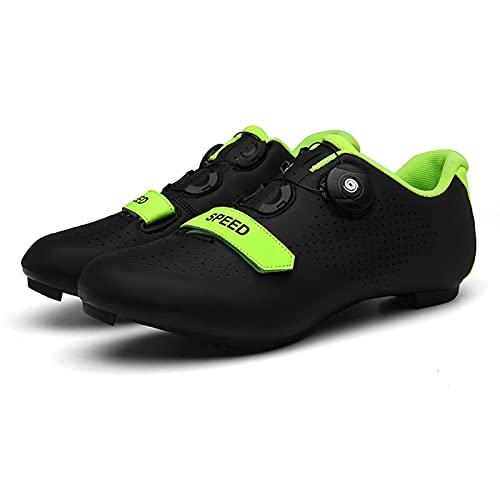 ZHBW Zapatillas De Ciclismo para Hombre, Deportivas Mujer MTB, con Hebilla Giratoria, Bicicleta Unisex Carreras En Interiores (Color : Black Rubber, Tamaño : 41 EU)