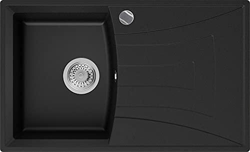 PRIMAGRAN Fregadero de Granito - Valencia, Lavabo Cocina Un Seno + Sifón Automático, Fregadero Empotrado 77 x 47 cm, Negro