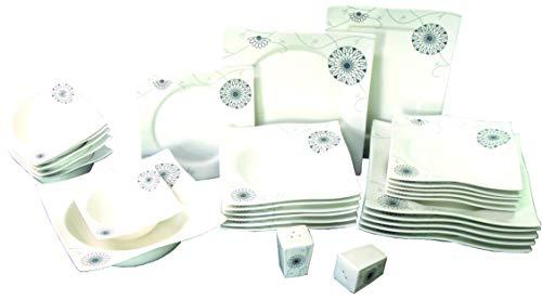 Topkapi 28-TLG Tafelservice Letizia TK-884 | Porzellan-Set für 6 Personen | Hergestellt aus Durable-Porzellan