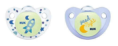 NUK Night und Day Silikon-Schnuller, kiefergerechte Form, 6-18 Monate, 2 Stück, blau