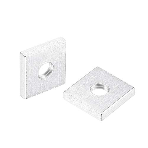 uxcell Vierkantmuttern, M4 x 10 x 2 mm, verzinkt, metrisches Grobgewinde, Sortimentskit, 25 Stück