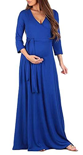 Mujer Vestido Premama Largos Fashion Elegantes Unicolor Vestir El Embarazo Mangas 3/4 V-Cuello Fiesta Cintura Alta Informales Anchos Vestidos Maxi Embarazadas (Color : Azul, Size : S)