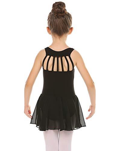 Bricnat Kinder Ballettkleidung Ballettkleid Mädchen Baumwolle Balletttrikot Ballettanzug Tanzkleid Tanzbody mit Rock Tütü Schwarz 120