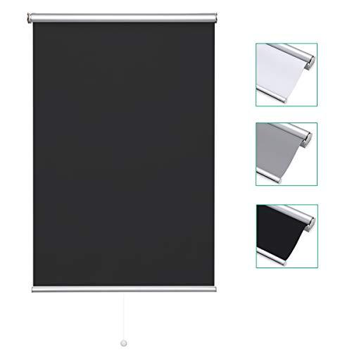 iKINLO Estor enrollable de 100 x 160 cm, color negro, enrollable, con fijación lateral, 100% sombra, protección solar, estor térmico