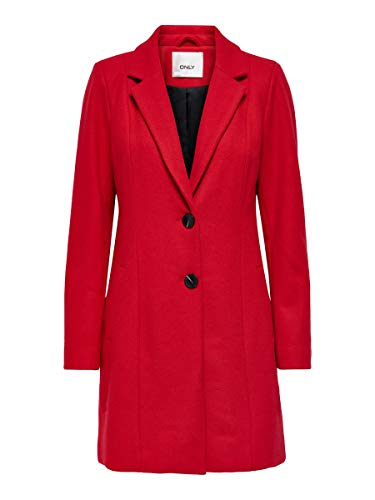 Only ONLCARMEN Wool Coat CC Otw Cappotto di Lana, Rosso-Mars Red, M Donna