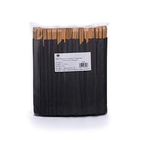 Ken Chiku Essstäbchen Bambus Mit Kohlensäure Essstäbchen Tensoge 24cm | 100 Einzeln Verpackte Paare | Chinesische & Japanische Küche | Natürlich, Splitterfrei | Umweltfreundlich | Erwachsene & Kinder