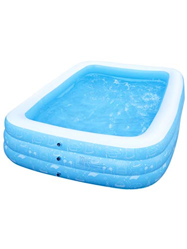 """Gladle Inflatable Swimming Pool, Kiddle Pool Inflatable 10ft Rectangle Large Family Pool Above Ground for Adults, Kids, and Toddlers Age 3+, Outdoor and Indoor, 118""""x73""""x20"""""""
