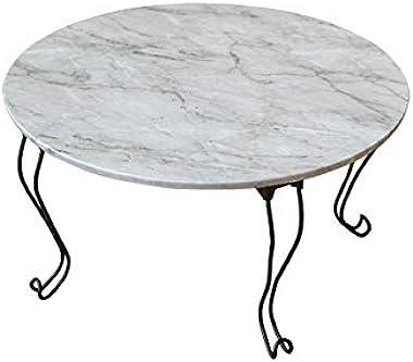 折りたたみテーブル 丸型 60cm幅 石目調 マーブルホワイトTHS-26MWH 猫脚
