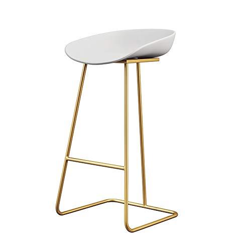 Barhocker, Bar Stuhl mit Rückenlehne, PP Kunststoff-Stuhl und Schmiedeeisen Baugerüst, Geeignet für Zähler, Küche Frühstück,E
