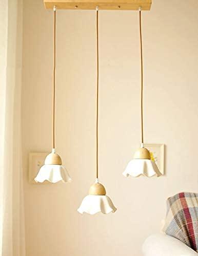 Pequeño indie araña lirio lotus lotus linterna de cerámica con madera maciza Luz colgante de techo 1 lámpara o 3 lámparas colgando de la pared Easy Fit para el comedor Habitación para niños Taberna