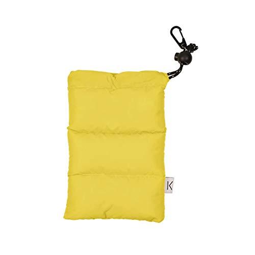 KNOK Handytasche Universal I Daunen Pouch Handysocke für Handy oder Handykette I Winter Handyhülle (Gelb)