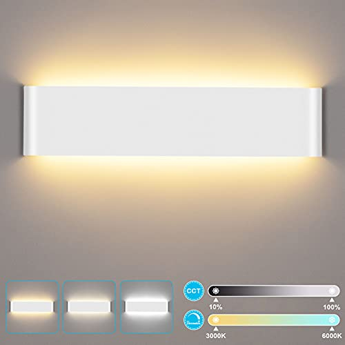 lampada muro vintage 24W Lampada da Parete Interno LUTDK Intelligente Applique da Parete LED Bianco Caldo/Bianco Naturale/Bianco Freddo Regolabile 40CM 2200LM Bagliore su e giù per Camera da Letto Soggiorno Corridoio