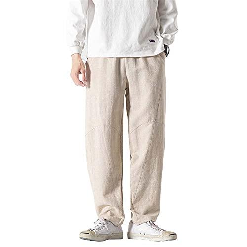 DHHY Los Pantalones de Los Hombres del Lino del Algodón Sueltan Los Pantalones Casuales de Los Pantalones del Harén, Pantalones Deportivos de Los Pantalones de Jogging Más El Tamaño