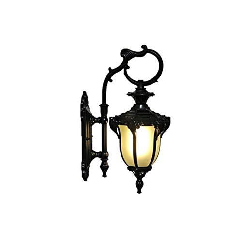 RWEAONT Pared de la Puerta del jardín Villa Europea Balcón Corredor Patio Lámpara de Calle Retro 110-220V Lámpara de Pared a Prueba de Agua a Prueba de Agua (Lampshade Color : Light Black)