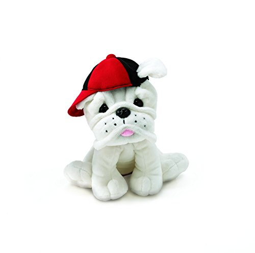 Burton & Burton Plush Eugene - White Bulldog with Baseball Cap