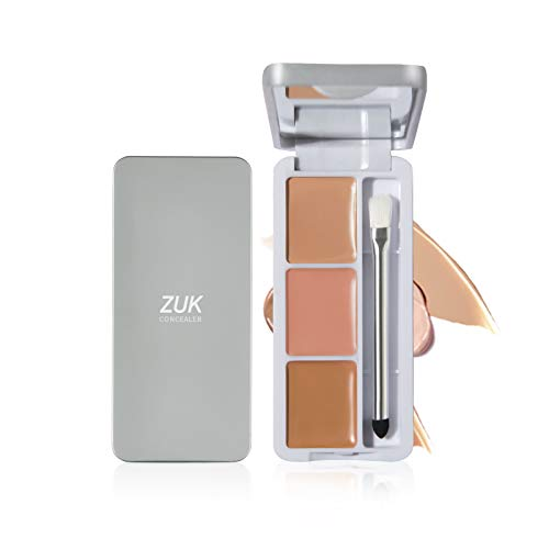 ZUK Concealer Palette Makeup with Brush and Mirror for Women Girl Dark Circles Freckles Acne Scars Color Correcting Concealer for Medium to Dark Skin