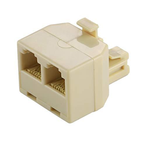 ComputerParts BZN RJ11 Ports Double Extension de Bureau Téléphone prolongateur de câble Adaptateur connecteur