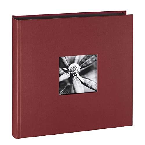 Hama Fotoalbum Jumbo 30x30 cm (Fotobuch mit 100 schwarzen Seiten, Album für 400 Fotos zum Selbstgestalten und Einkleben) bordeaux