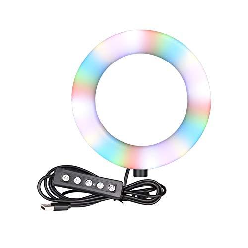 GZA Lámpara de Anillo de Anillo LED de 6 Pulgadas RGB Lámpara de Anillo de Video con trípode Tapón USB 15 Colores 3 Modelo para la fotografía de Maquillaje en Vivo de Youtube (Color : No Tripod)