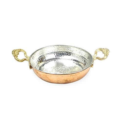 Türkische Kupferpfanne: Eierpfanne aus massivem Kupfer | Türkische Doppel-Omelettepfanne | Antike Kupferpfanne zum Braten oder zur Dekoration (17 cm)
