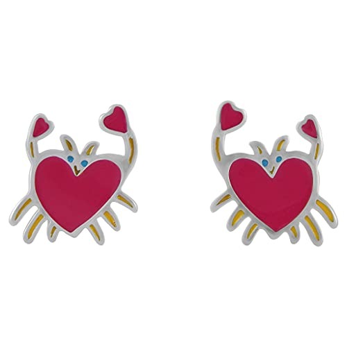 Hanessa 925 real silver rhodium plated children's jewellery earrings made of real silver with cancer heart in red gift for your daughter, granddaughter or niece