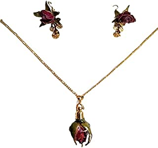 Natural flowers in bio-resin. Set of necklace and earrings, Handmade, Semiprecious stones. Made in Mexico